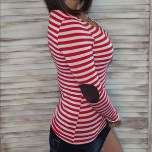 Elbow Patch Striped Preppy Top Red White 0618